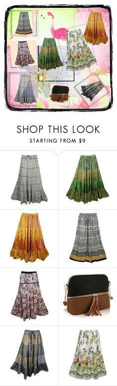 """""""Bohemian Flare Sexy Long Skirts"""" by era-chandok ❤ liked on Polyvore featuring Polaroid and Post-It"""