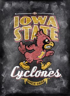 Iowa State Cyclones ChalkBoard Poster for the lady Iowa State Football, Iowa State Cyclones, Ames Iowa, Painted Pavers, Des Moines Iowa, World Of Sports, Poster On, State University, Chalkboard Poster