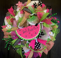Watermelon deco mesh wreath, Watermelon wreath, Summer deco mesh wreath, green and pink mesh wreath, Welcome mesh wreath, Summer mesh wreath by ShellysChicDesigns on Etsy https://www.etsy.com/listing/237945578/watermelon-deco-mesh-wreath-watermelon