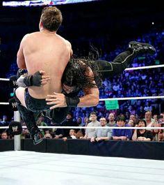 Roman Reigns, spearing The Miz on Smackdown,  8/15/14.