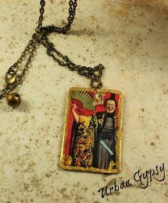 Chinese Fan Man Vintage Image Zen Tag Handmade Urban Gypsy Pendant Necklace by UrbanGypsyIndy on Etsy