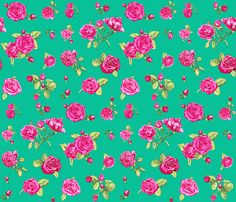 roses emerald fabric by katarina on Spoonflower - custom fabric