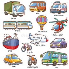 Find Vector Illustration Cartoon Transportation Vocabulary stock images in HD and millions of other royalty-free stock photos, illustrations and vectors in the Shutterstock collection. Thousands of new, high-quality pictures added every day. Learning English For Kids, English Lessons For Kids, Kids English, English Language Learning, Teaching English, English Activities, Toddler Learning Activities, English Vocabulary Words, Learn English Words
