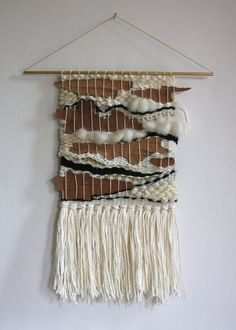 Hand Woven Wall Hanging Weaving with Natural by gatherhandwoven: