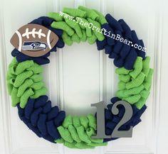 Seattle Seahawks burlap wreath w/ wooden by TheCraftinBear on Etsy
