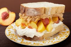 Peaches and Cream: Thick slices of white bread with sliced peaches sandwiched between a thick layer of cream cheese and The Bee's Knees peanut butter.