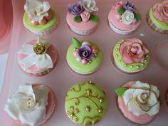 My own take on: Vintage-inspired gumpaste & fondant covered cupcakes. Cupcake base: carrot cake. Jaya's 18th birthday