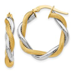 Best Birthday Gift Leslies 14k Polished and Textured Twisted Hoop Earrings