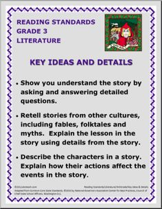 Common Core Curriculum Reading Poster: Key Ideas and Details 3rd grade