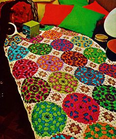 Dinner Plate Granny Afghan Vintage Crochet Pattern Download by MomentsInTwine on Etsy