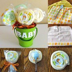 babyparty geschenke deko baby waschlappen lolipops selber machen