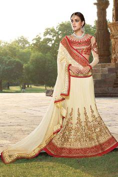 Cream Net Bridal Lehenga