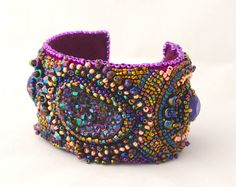 PURPLE IRIS CUFF Bead Embroidery Cuff par PhoebesPearlsGeneve, $189.00