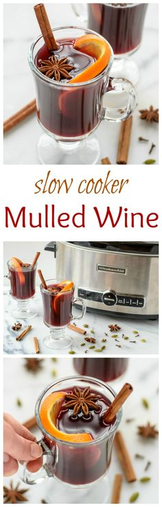 Slow cooker spiced wine (mulled wine) - an easy holiday cocktail recipe, made with red wine, apple cider, citrus, and warm spices. The delicious warm drink recipe is perfect at holiday parties. Christmas Drinks, Holiday Drinks, Party Drinks, Christmas Treats, Fun Drinks, Yummy Drinks, Holiday Recipes, Holiday Parties, Drinks Alcohol