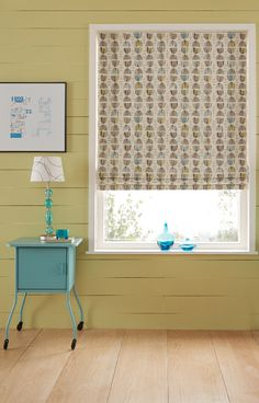 The spring fresh shades of our Easter Aqua Roman blind will brighten up your scheme in a jiffy. Here, we've combined it with a mustard, ochre wall and teal pops for a striking effect. Use in a bedroom or living room to really make a statement.