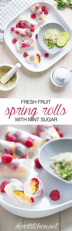 Vegan Fresh Fruit Spring Rolls with Mint Sugar. NO SUGAR. An easy recipe and a delicious dessert for garden parties.