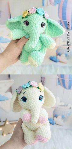 Crochet Elephant Pattern, Crochet Animal Patterns, Crochet Patterns Amigurumi, Baby Blanket Crochet, Crochet Baby, Flower Crochet, Plushie Patterns, Stuffed Toys Patterns, Amigurumi Elephant