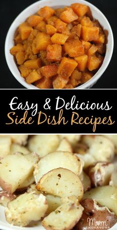 Easy & delicious side dish recipes - cinnamon brown sugar butternut squash AND parmesan garlic & herb red potatoes!