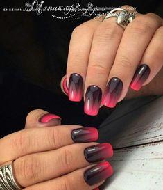 nails hot pink and black ~ nails hot pink - nails hot pink glitter - nails hot pink acrylic - nails hot pink and black - nails hot pink ombre - nails hot pink short - nails hot pink designs Fingernail Designs, Nail Art Designs, Stylish Nails, Trendy Nails, Nail Manicure, Gel Nails, Fingernails Painted, Nail Polish, Black Ombre Nails