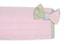 Seersucker Four Way Cummerbund Set with Pink Front by High Cotton