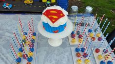 Super Boy Birthday Party Smash Cake by The Dapper Dipper; Superman Themed Party