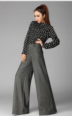 2014 moda casual a spina di pesce elastico a vita alta pantaloni gamba larga delle donne ispessimento plus size xxxl pantaloni grigi in                  da Pantaloni & Capris su AliExpress.com   Gruppo Alibaba