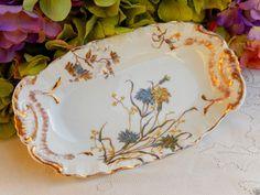 Beautiful Antique Limoges Porcelain Dish ~ Bowl ~ Blue Floral ~ Gold #StrausLewisandSonsLimoges