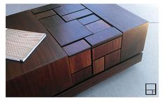 MSTRF / ETNA  42 x 24 Modern Abstract Walnut COFFEE Table by MSTRF, $1375.00