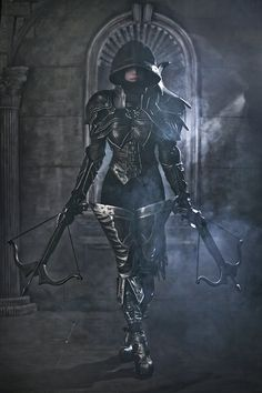 "nerdsandgamersftw: ""Diablo 3 Demon Hunter Cosplay By Tasha Spcats Photography by Sinme "" Fantasy Warrior, Warrior Girl, Warrior Women, Dark Warrior, Warrior Spirit, Warrior Princess, Amazing Cosplay, Best Cosplay, Female Cosplay"