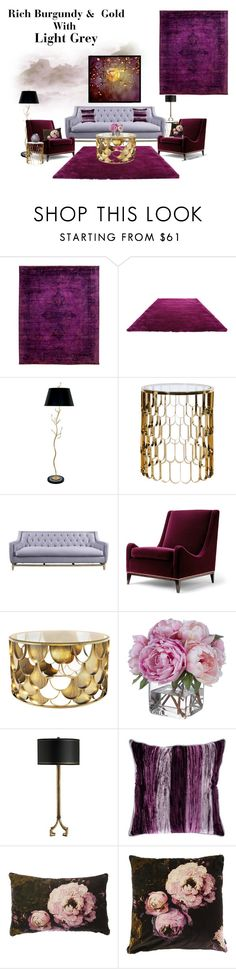 """Dramatic living room;Rich Burgundy & Gold with light grey"" by veronababy ❤ liked on Polyvore featuring interior, interiors, interior design, home, home decor, interior decorating, Bloomingdale's, ESPRIT, Van Teal and Diane James"