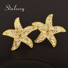 SINLEERY Fashion White Cubic Zircon Starfish Stud Earrings For Women Yellow/White Gold Color Party Jewelry Pendientes  Es651