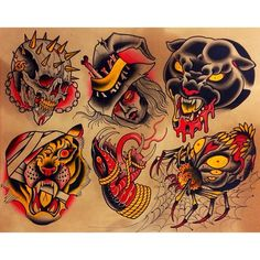 Finally finished this sheet I started a few weeks ago Traditional Tattoo Painting, Traditional Tattoo Design, Traditional Tattoo Flash, Evil Skull Tattoo, Grim Reaper Tattoo, Old School Tattoo Designs, Tatoo Designs, Old Tattoos, Body Art Tattoos