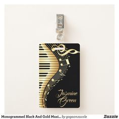 Monogrammed Black And Gold Music Notes Badge