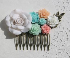 Cabochon utopia bridal bride hair pin comb romantic vintage flare affair modern blue green orange pink flowers antique victorian filigree by EtsyNazi on Etsy