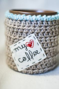 crochet cozy mug--oh my cuteness! Please someone make this for me, I will love you forever!