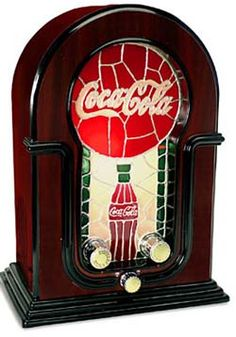 Coca Cola stained glass look wood cabinet clock radio