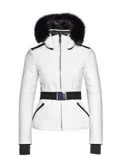 Goldbergh Hida white ski jacket with fur trim