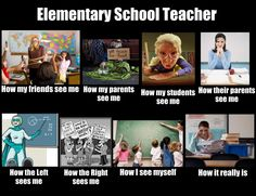 How the world sees me and what I do meme for an Elementary School Teacher.