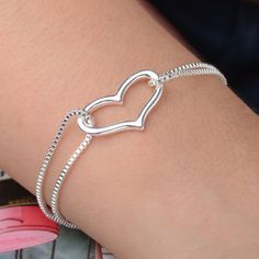 Amazon.com: New 925 Sterling Silver Heart Love Bracelet Silver Chain Lady Women Jewelry Gift: Sports & Outdoors
