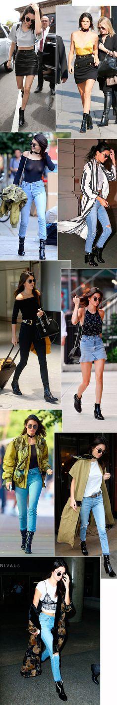 Kendall Jenner street style looks com bota de verniz.