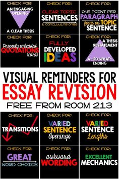FREE powerpoint or posters to help English students revise their essays.