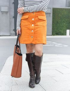 Orange Corduroy Skirt | Brown Riding Boots | Work Outfit | Lady in Violet Fashion Blog #ridingboots #fallskirt