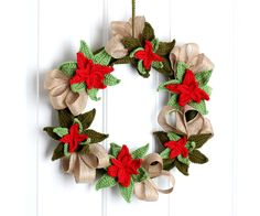Free Crochet pattern Christmas Poinsettia Wreath..I still have time to make this awesome wreath before Christmas!!
