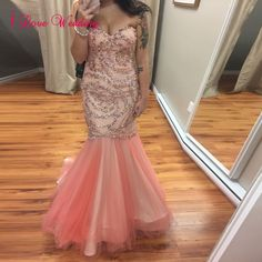 130.91$  Buy here - http://viggs.justgood.pw/vig/item.php?t=b1ma0ie43537 - New Mermaid Prom Evening Dresses Formal Pink Tulle Crystal Party Bridal Gowns 130.91$