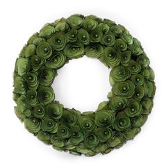 Wreath with green curled wood rosettes.    Product: Wreath Construction Material: Wood shavings and foam base ...