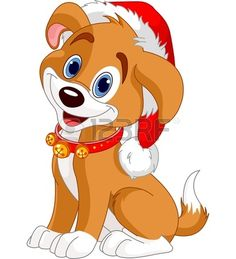 Christmas dog with Santas hat Stock Vector