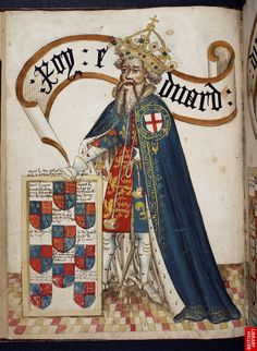Full-page miniature of King Edward III, wearing a blue Garter mantle, with his arms.