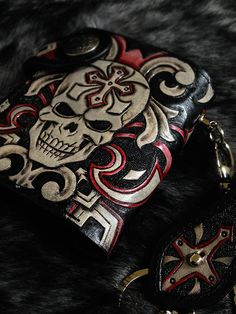 cross Skull mens bifold biker wallet purse  genuine leather handmade B13 #Handmade #Bifold