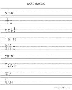 Trace the Spelling Words. Printable Worksheet. Kindergarten.