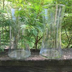 Two Large Clear Glass Vases - Vintage Wedding